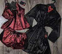 Вишневая пижама и черный халат комплект тройка.