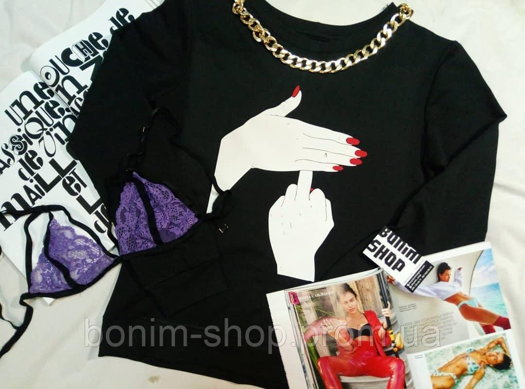 Черный женский свитшот с принтом Средний палец за ладонью