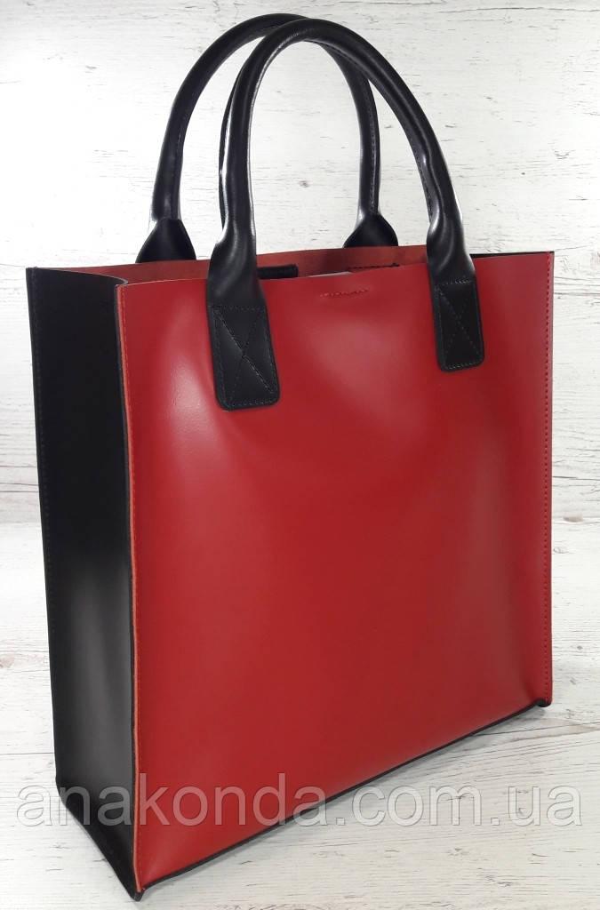 275-к1 Натуральная кожа, Сумка-пакет с мешком на молнии, красно-черная Кожаная Сумка-шоппер красная кожаная