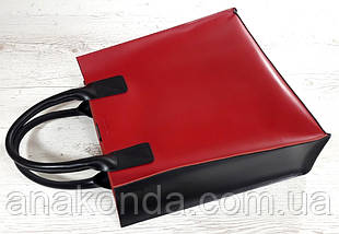 275-к1 Натуральная кожа, Сумка-пакет с мешком на молнии, красно-черная Кожаная Сумка-шоппер красная кожаная , фото 2