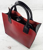 275-к1 Натуральная кожа, Сумка-пакет с мешком на молнии, красно-черная Кожаная Сумка-шоппер красная кожаная , фото 3
