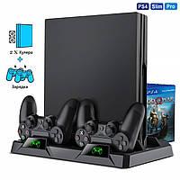 Вертикальная Док-станция PS4 Playstation Slim Pro Dualshock 4: зарядка геймпадов, охлаждающие вентиляторы LED