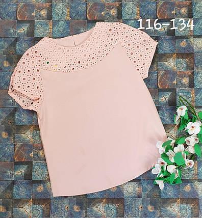 Блузка  с коротким рукавом 116-134 персиковый, фото 2