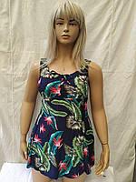 Купальник- платье Танкини Bise a fairy 67132 Пальма синий (есть 52 54 56 58 размеры)
