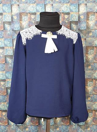 Блузка с длинным рукавом Погоны 122-146 темно-синий, фото 2