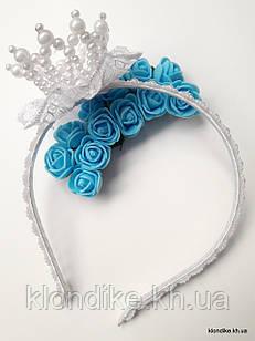 """Обруч для волос """"Принцесса"""" с короной из жемчужных бусин, Цвет: белый"""