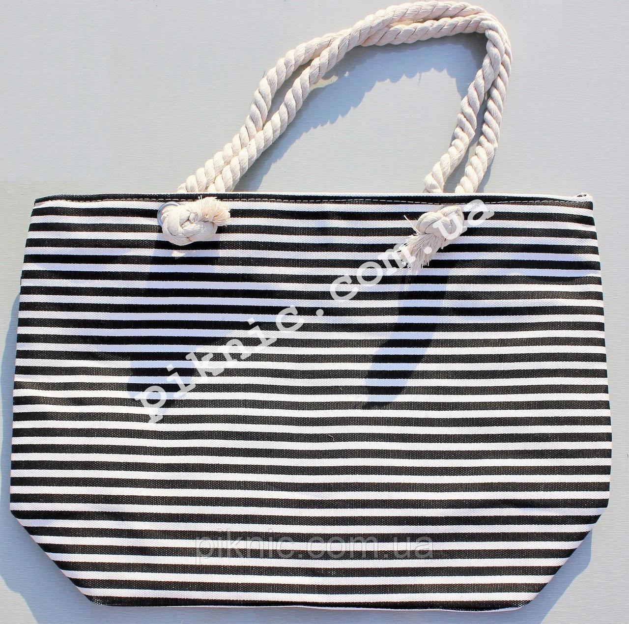 Сумка пляжная Полосатая текстиль. Женская тканевая сумка на пляж