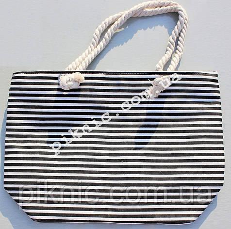 Сумка пляжная Полосатая текстиль. Женская тканевая сумка на пляж, фото 2