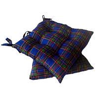 Подушка на стул Шотландка синяя  40*40 см