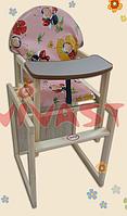 Детский стульчик для кормления трансформер большая спинка  код 06332 (7)
