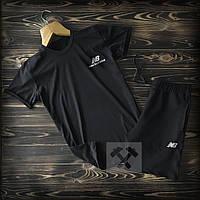 Мужской летний спортивный костюм, чоловічий спортивний костюм New Balance, Реплика (черный)