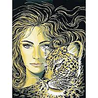 Картина по номерам Девушка и леопард 30Х40см VK049