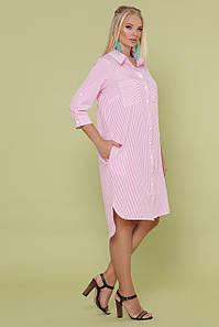 Летнее женское платье-рубашка в полоску, 50-56