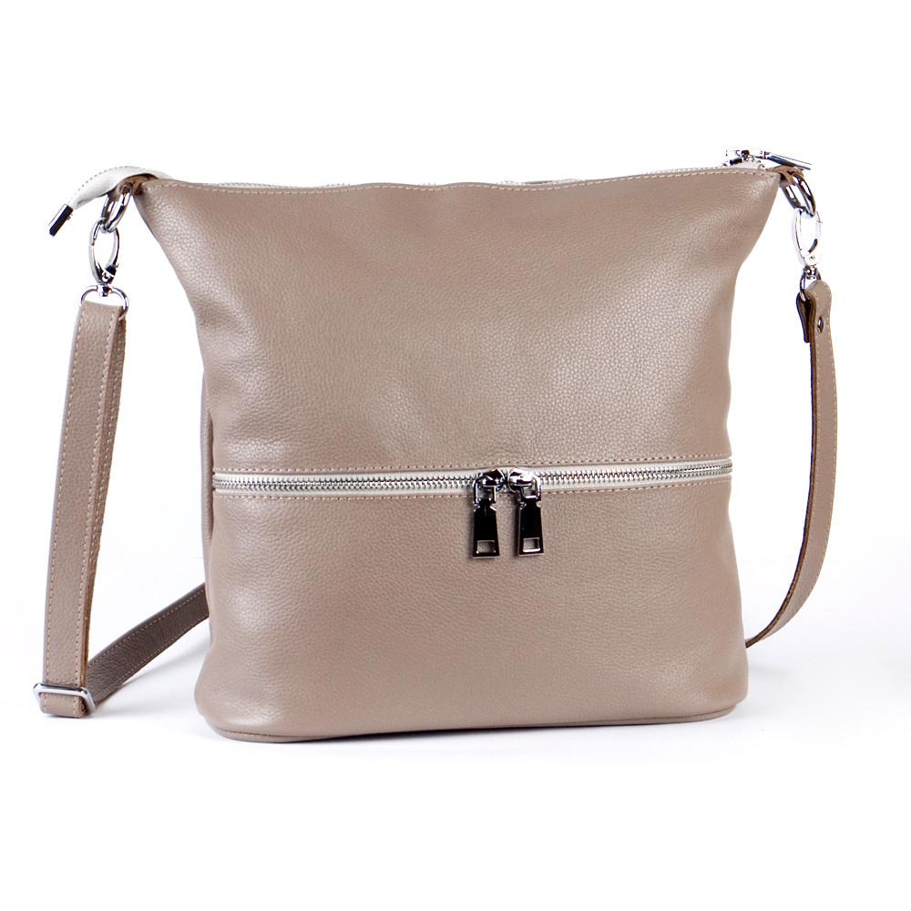Женская кожаная сумочка-кроссбоди 42 капучино 01420109