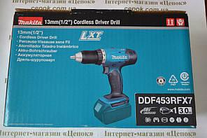 Акумуляторний шуруповерт Makita DDF453RFX7, 18V, 3Ah, швидка зарядка