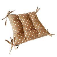 Подушка для стула на 4 завязки коричневая в горох 40*40 см