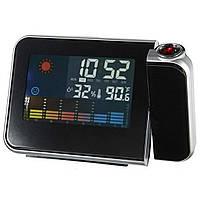 Годинник метеостанція з проектором часу і кольоровим дисплеєм RIAS Black (2_000518)