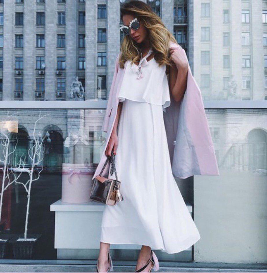 Платье сарафан из двойного креп-шифон в пол свободное