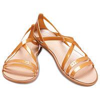 Сандалии женские Crocs EUR 42-43 US11 стильные золотые босоножки с закрытой пяткой Крокс оригинал
