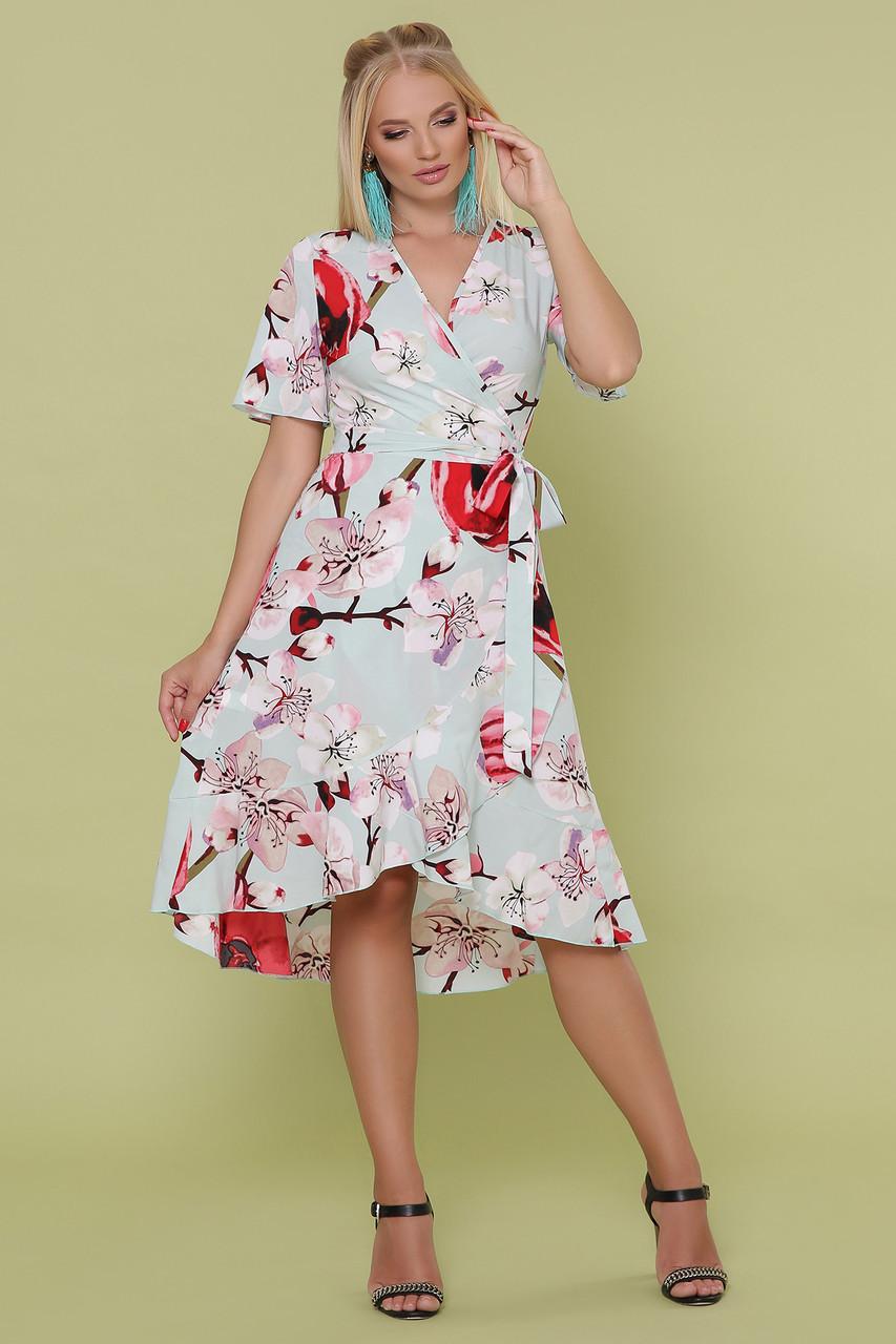 Летнее женское платье на запах с цветочным принтом, 50-56