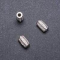 Фурнитура бусина вставка d-10х6мм d-in-3 мм родий
