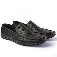 Летние мокасины кожаные перфорация черные мужская обувь больших размеров Rosso Avangard BS Alberto PerfBlack