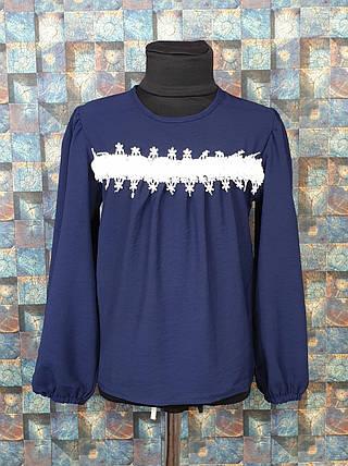 Блузка с длинным рукавом Роза 122-146 темно-синий, фото 2