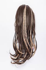 Шиньон-накладка с косичками,цвет мелирование темно-русый с пшеничным