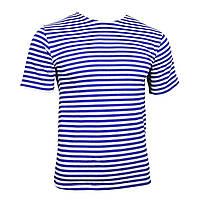 Тельняшка-футболка вязаная /синяя, голубая, черная/ Голубая