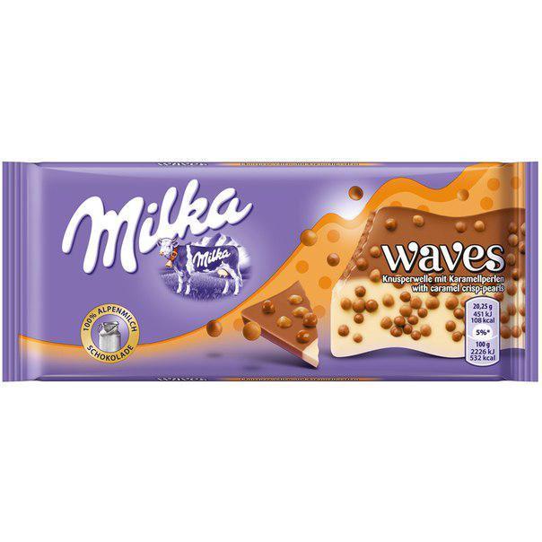 Молочный шоколад Milka Waves Карамель