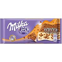 Молочный шоколад Milka Waves Карамель, фото 1