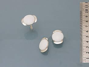 Серьги из серебра 925 пробы с реконструкцией кахолонга, фото 2