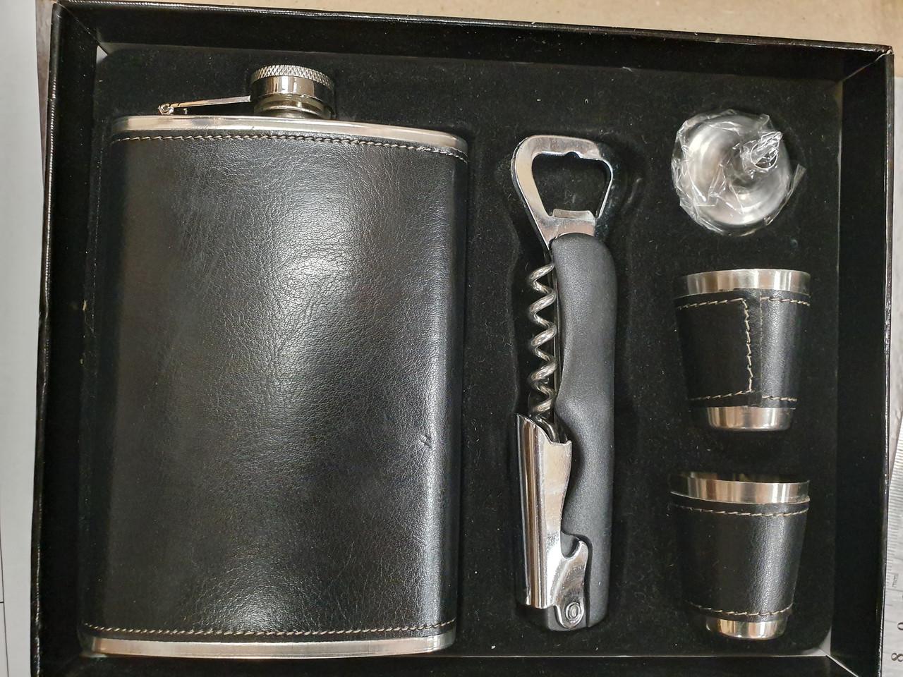 Подарочный набор Фляга + рюмки в кожзаме