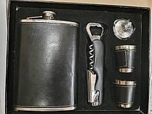 Подарунковий набір Фляга + чарки в кожзаме