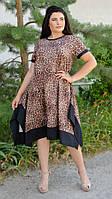 Адажио лето. Праздничное платье больших размеров. Леопард беж, фото 1