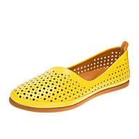 Балетки женские с перфорацией Estile, цвет желтый, Турция 38