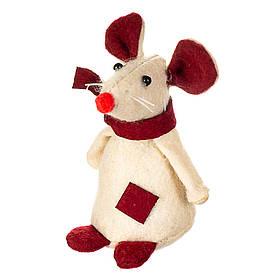 """Игрушка """"Белая мышка в шарфике""""(13*6 см), 032NV"""
