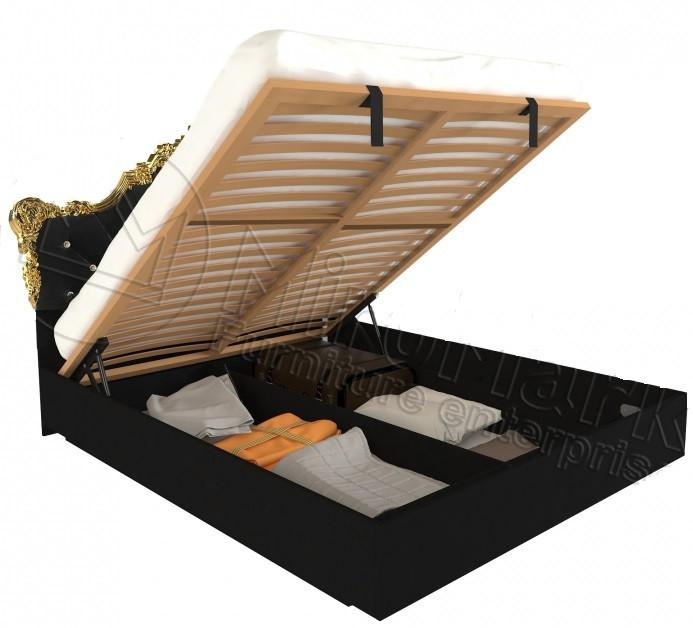Кровать Дженнифер Black-Gold с подъемным механизмом и мягким изголовьем ТМ Миро марк