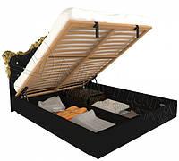 Кровать Дженнифер Black-Gold с подъемным механизмом и мягким изголовьем ТМ Миро марк, фото 1