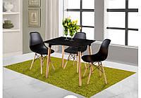 Стол DT-9017 квадратный черный+ 4 стула DS-913