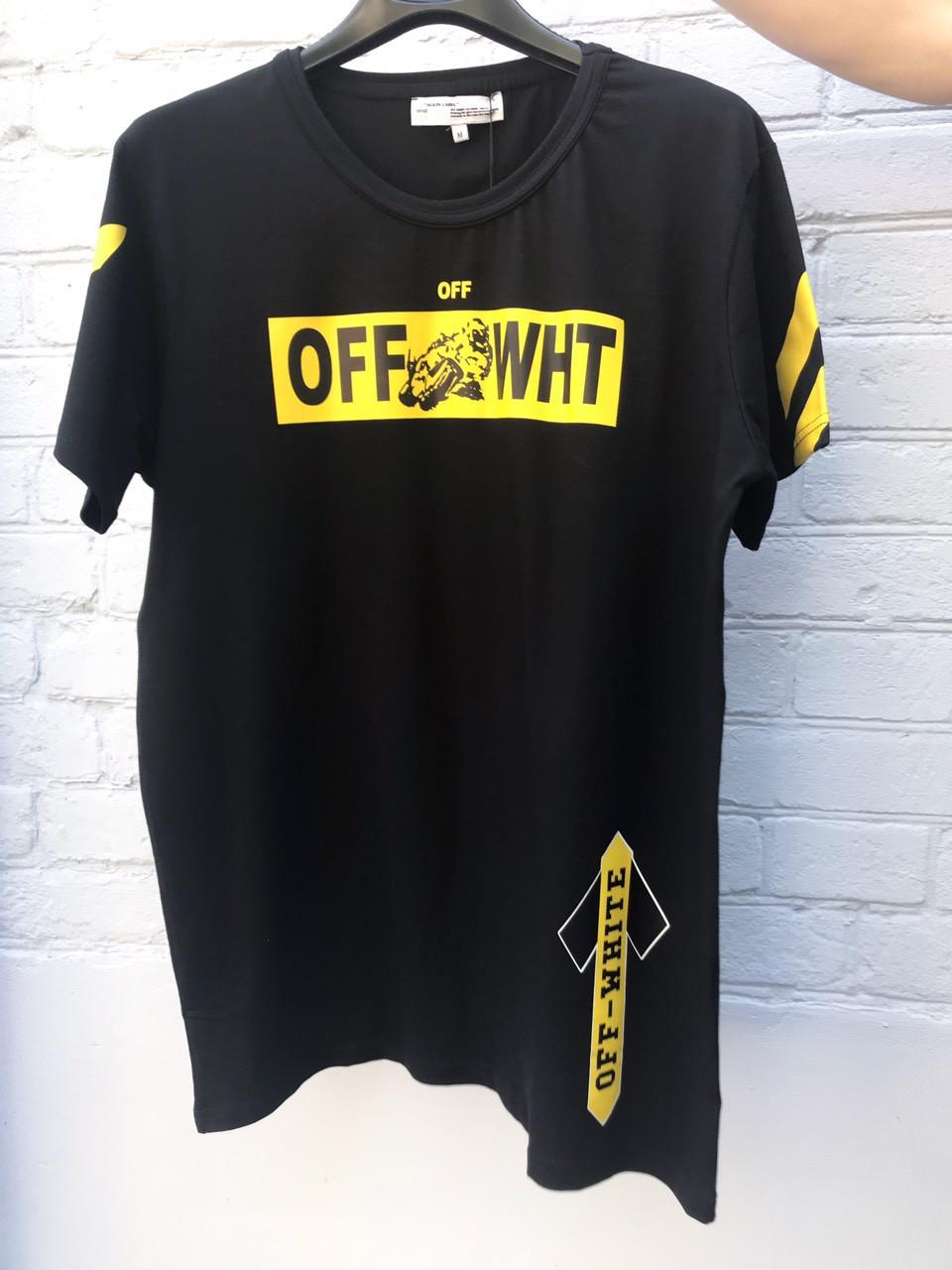 Футболка мужская Off WHITE черная с желтым