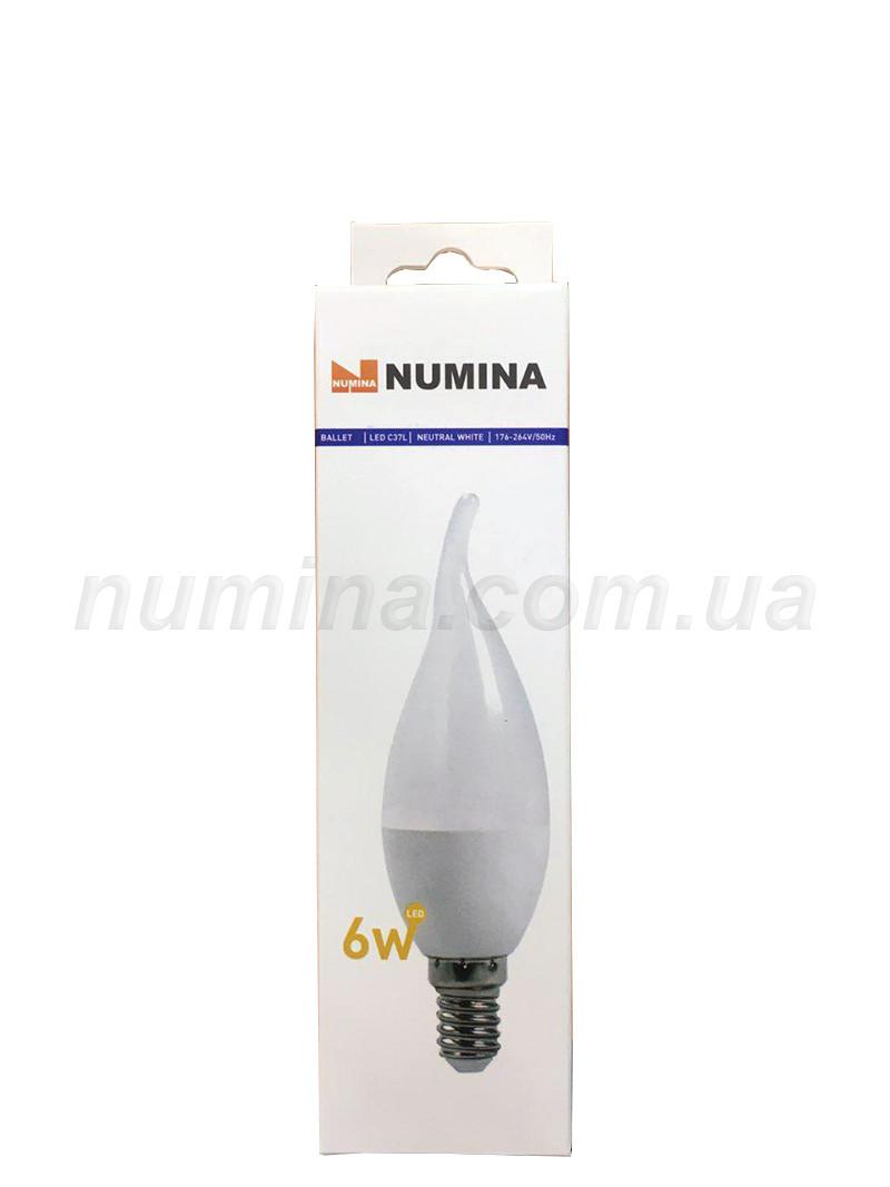 Світлодіодна лампа свічка на вітрі LAMP картон WHITE C37Lap 6W E14 4000K