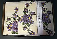Турецкое постельного белье с вышивкой Евро, Buldans. Ручная работа Фиолетовый Букет