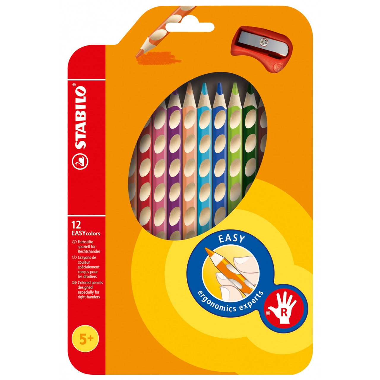 Олівці 12 кол для правші з точилом STABILO EASYcolors , Stabilo