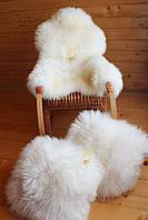 Шкура овечья натуральная белого цвета новозеландской породы  110*70 см