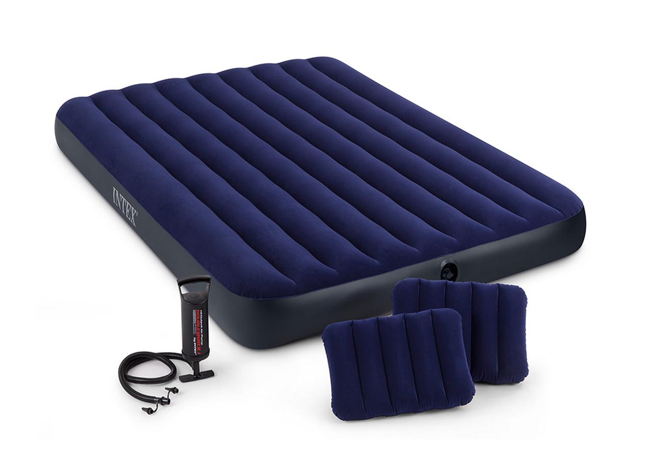 Надувной матрас Интекс 68765 с подушками и ручным насосом