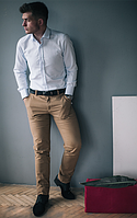 Брюки коттоновые бежевого цвета West-Fashion А 403