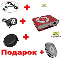 Mp3 плеер + Вакуумные наушники + Зарядка + Чехол + Кольцо-держатель для телефона. Плеер клипса