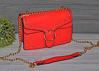 Красивая сумочка с заклепками красная, фото 1