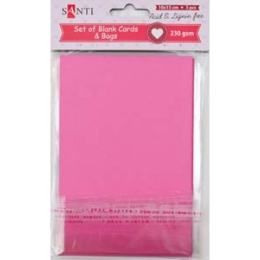 Набір рожевих заготовок для листівок, 10см*15см, 230г/м2, 5шт. , Santi